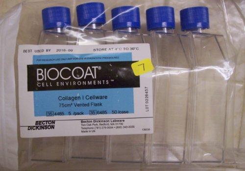 5 Biocoat 354485 356485 Vented Flask 250ml 75cm2 Sealed in Bag 5 Pack