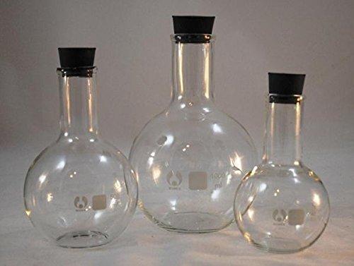 Glass Boiling Flasks Flat Bottom Flasks - Set of 3 Glass Flasks 250mL 500mL 1000mL