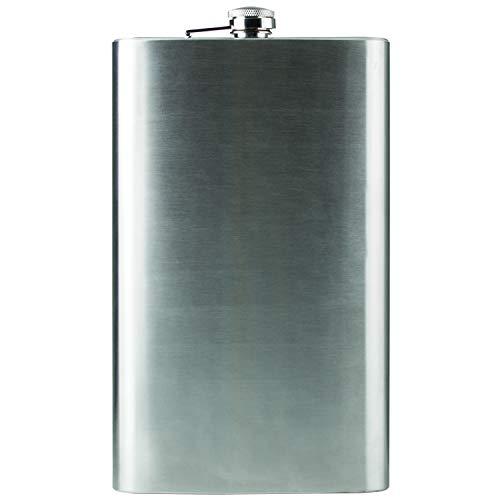 Maxam Jumbo Stainless Steel Flask Dishwasher Safe Extra Large Drinking Flask Polished Silver 64 Ounce Capacity KTFLASK64