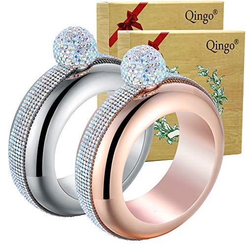 Qingo Bracelet Flask Bangle Creative Stainless 304 Steeland Hip Funnel Set for women 35 oz 2 pcs Crystal Surround SliverRose Red Crystal Surround SliverRose Red