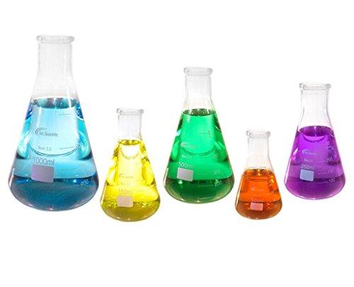 Erlenmeyer Flask Glass Set of 5 50 150 250 500 1000 ml KeL Scientific KS-607