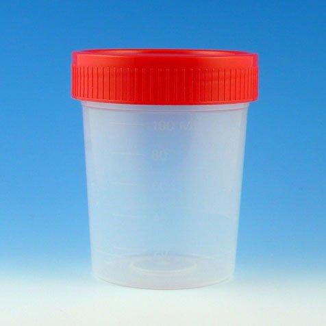 Globe Scientific 5915 Polypropylene Specimen Container with Separate Red 14 Turning Screw Cap Non-Sterile Bulk Graduated 4oz Capacity Case of 500