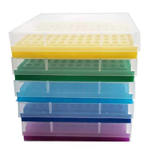 PCR Tube Rack for 02ml Micro-Tubes 8 x 12 Array Pack of 5BlueLight BlueYellowPurpleGreen