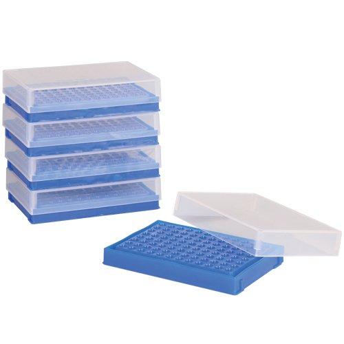 Bel-Art F18902-0001 PCR Rack 02ml 96 Places 5 x 3½ x 1⅜ in Polypropylene Fluorescent Blue Pack of 5