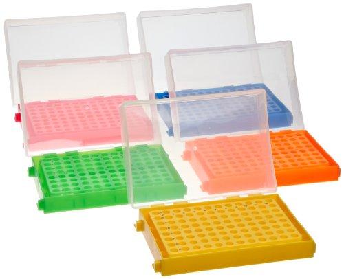 Heathrow Scientific HD23461A 5 Piece Polypropylene 96-Well PCR Rack Assorted Colors Set