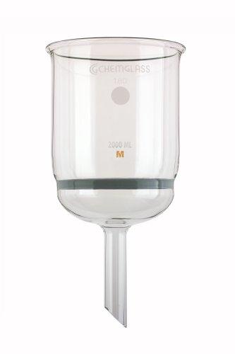 Chemglass CG-1402-31 Glass Buchner Filtering Funnel with Medium Frit 2L Capacity 19mm OD x 110mm Length Stem 125mm Diameter