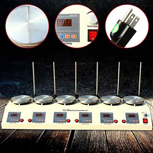 TFCFL Digital Heating Mixer Dual Controls 6 Heads Magnetic Hotplate Stirrer Multi Unit Lab Magnetic Mixer 620W