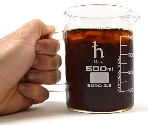 EISCO Premium Hand Crafted Beaker Mug Thick Borosilicate Glass Large Size Pint Glass or Coffee Mug Sized 500 ml Capacity 169 oz