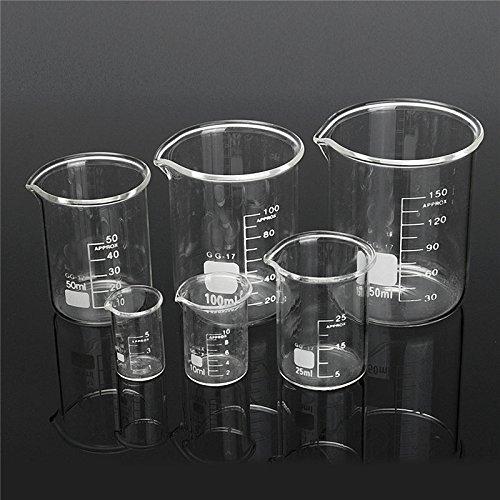 Raza 6Pcsset Graduated Borosilicate Glass Beaker Volumetric Measuring Glassware Chemistry Experiment Tool For Laboratory Supplies