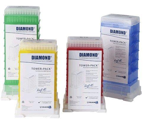 Gilson Pipetman F167203 Standard Diamond Sterile Pipette Tip Tower Pack 2-200µL Volume Range Pack of 960