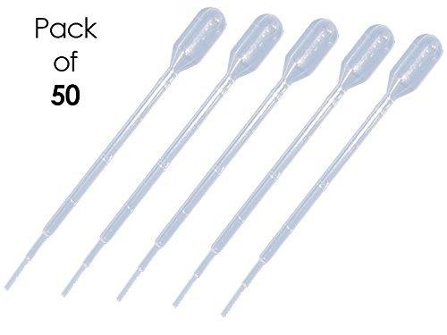 Sponix BioRx Transfer Plastic Pipettes - 3 mL Capacity - Graduated to 1 mL - Short Bulb - Non-Sterile - 50 pcs