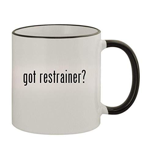 got restrainer - 11oz Ceramic Colored Rim Handle Coffee Mug Black