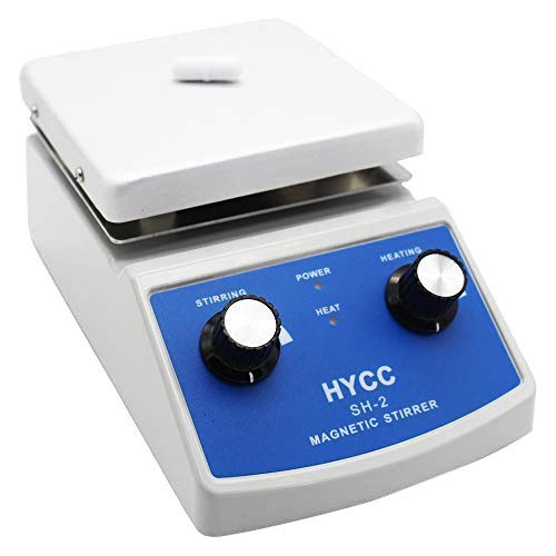 HYCC SH-2 Laboratory Magnetic Stirrer HotPlate 30mm Mixer Stir Bar and Thermometer Support 120x120mm Aluminium PanelHeating Stirring Type