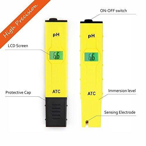 JTD  High Accuracy Pocket Size Handheld pH Meter Pen Tester Yellow 0-14pH Measurement Range  Auto Temperature Compensation