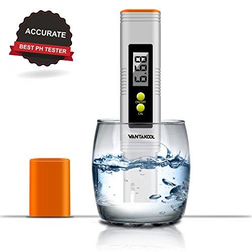 VANTAKOOL Digital PH Meter 001 PH High Accuracy Water Quality Tester with 0-14 PH Measurement Range - Orange