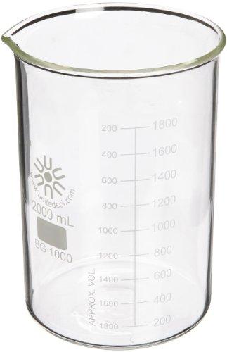 United Scientific BG1000-2000 Borosilicate Glass Low Form Beaker 2000ml Capacity