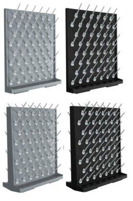 Azzota Pegboard Bench-topWall-Mount Laboratory Glassware Drying Rack with 52 Pegs - Black