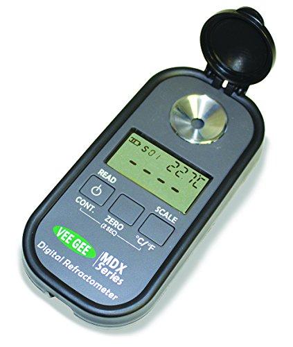 Vee Gee 48401 Digital Refractometer Mdx-401 for WineBeer Brix  Vole Ape One Kmw 4 Scales Grey Plastic Housing 32 mm x 60 mm x 120 mm