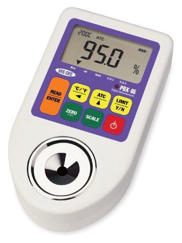 Vee Gee Scientific PDX-95 Digital Refractometer with BrixRefractive IndexSodium Chloride Scales 00 - 950  Brix 9V Battery