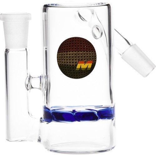 SCIENTIFIC LAB EQUIPMENT 12-1545 MAV GLASS ASH HOLDER TURBINE DISK PERC 45 ANGLED JOINT BLUE MALE 14MM