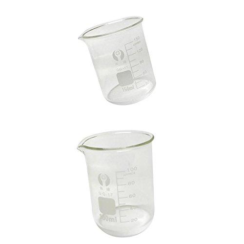 MagiDeal Low Form Borosilicate Glass Beaker Measuring Chemistry Glassware 100ml150ml