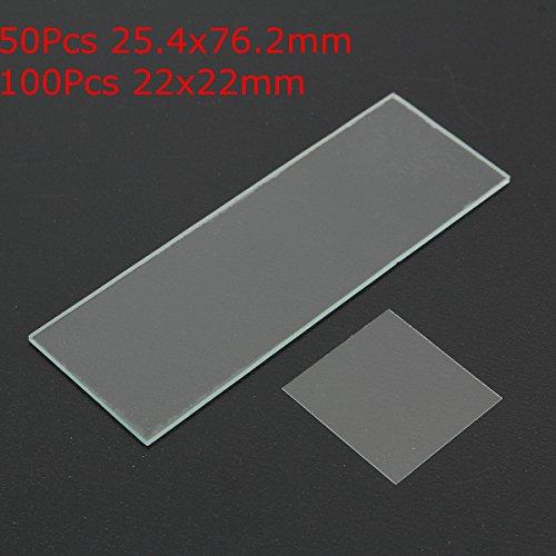 50Pcs Glass Blank Microscope Slides 254x762mm  100Pcs Square Cover 22x22mm