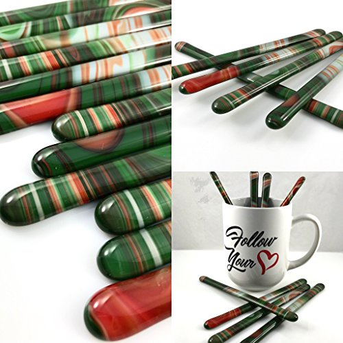 Red Green and White Glass Swizzle Sticks Set of 6 Glass Stirrers Coffee Stirrers Cocktail Muddlers