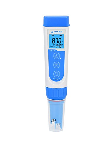 Apera Instruments AI316 Premium Series PC60 5-in-1 Waterproof pHEC Conductivity TDS ppm Salinity ppt Temp Multi-Parameter Pocket Tester Kit