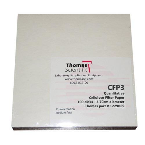 Thomas CFP3-150 Cellulose Qualitative Filter Paper 6 Micron Slow Flow Grade CFP3 15cm Diameter Pack of 100