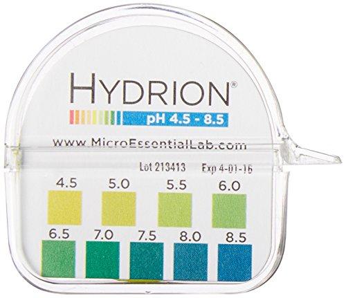 Micro Essential Lab 2210 Plastic Hydrion Vivid Short Range pH Test Paper Dispenser 45 - 85 pH Single Roll
