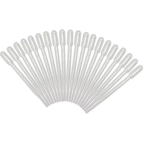 vanki 20 pcs White 3ML Disposable Plastic Eye Dropper Set Transfer Graduated Pipettes