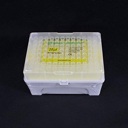 Pipette Tips 20 uL JET ZEROTIP Sterile Filter Rack of 96