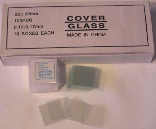 Glass Microscope Slides Cover Slips 22x22mm Pack of 1000