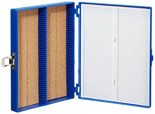 Heathrow Scientific HD15994A Blue Cork Lined 100 Place Microscope Slide Box 825 Length x 7 Width x 13 Height