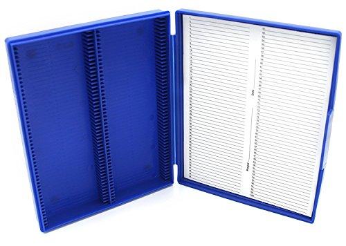 Heathrow Scientific HS15991A 100-Place Standard Microscope Slide Box 210 x 169 x 37 mm Polypropylene Blue
