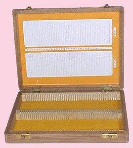 SEOH Microscope Slide Box Wooden 100 Microscope Slides