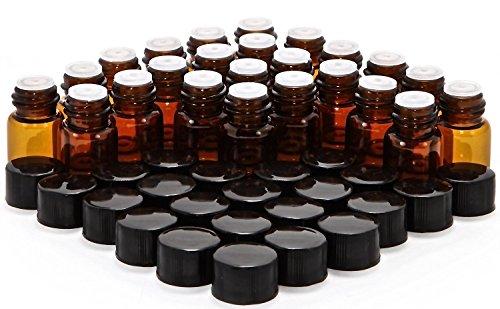 Elufly 14 Dram Amber Glass Vial 1ml Oil Bottles- 150 Screw Cap 150 Orifice Reducer150 Bottles150 White Cotton Piece