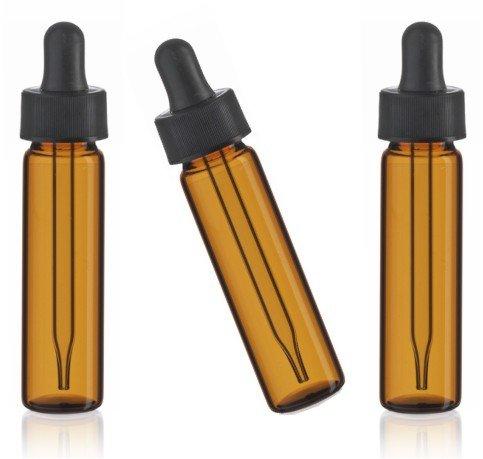 MagnaKoys 2 Dram 14 oz Amber Glass Vials w Straight Black Bulb Eye Glass Droppers for Essential Oils Liquids pack of 5