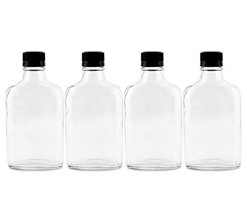 Cornucopia 200ml Glass Liquor Bottles 4-Pack Glass Flask with Tamper Evident Seal Caps
