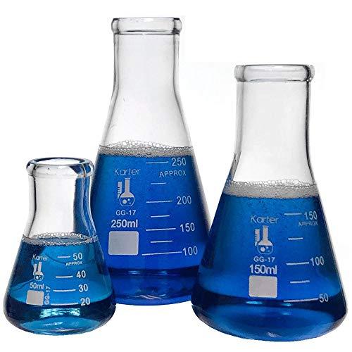 Glass Erlenmeyer Flask Set - 3 Sizes - 50 150 and 250ml Karter Scientific 214U2