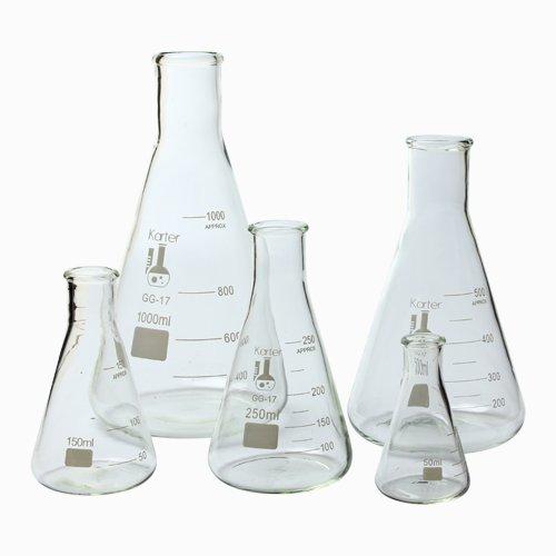 Glass Flask 5 Piece Set Narrow Mouth Erlenmeyer Borosilicate 33 Glass - 50ml 150ml 250ml 500ml 1L Karter Scientific 213B2