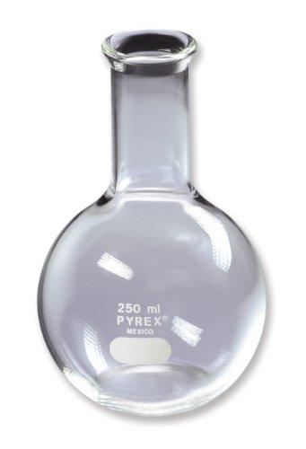 Corning Pyrex Borosilicate Glass Flat Bottom Boiling Flask 250mL Capacity