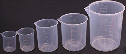 Shapenty 5 Sizes 50ml  100ml 250ml 500ml 1000ml Capacity Clear Plastic Graduated Measuring Beaker Set Liquid Cup Container 5PCS