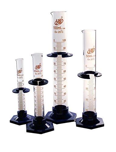 SEOH 4 Pack Graduated Cylinder 2 part w bumper 10ml 25ml 50ml 100ml