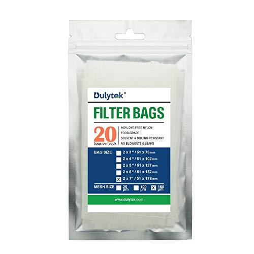 Dulytek Premium Nylon 20 Pcs Filter Bags 160 Micron 2 x 7 Double-Stitching Zero Blowouts
