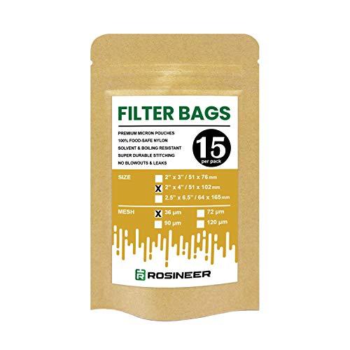 Rosineer Premium Nylon Filter Bags 2 x 4 15 PCS 36 Micron Mesh Size Double Stitching Zero Blowouts