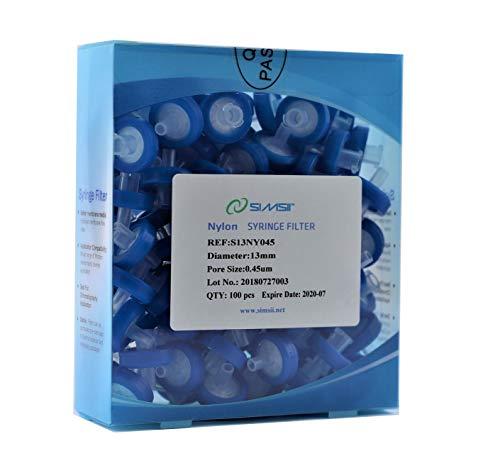 Simsii Syringe Filter Nylon Membrane Lab Disc Diameter 13 mm Micron Pore Size 045 um Pack of 100