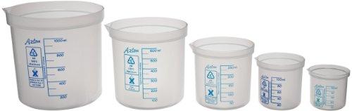 Azlon 522135-0002 5 Piece Polypropylene Square Ratio Beaker Assortment Includes 50 100 250 600 and 1000mL Beakers