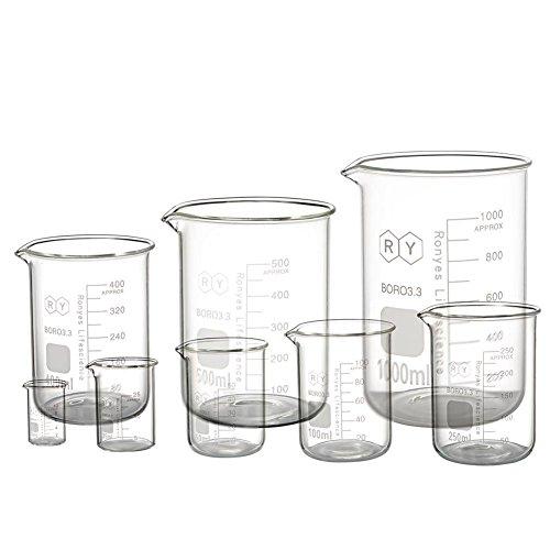 Borosilicate Glass Measuring Beaker Set 10ml 25ml 50mL 100ml 250ml 400ml 500ml 1000ml Pack of 8