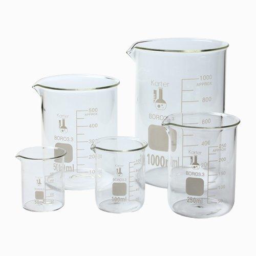 Karter Scientific 213A2 Borosilicate Glass Low Form Glass Beaker 501002505001000 mL Pack of 5
